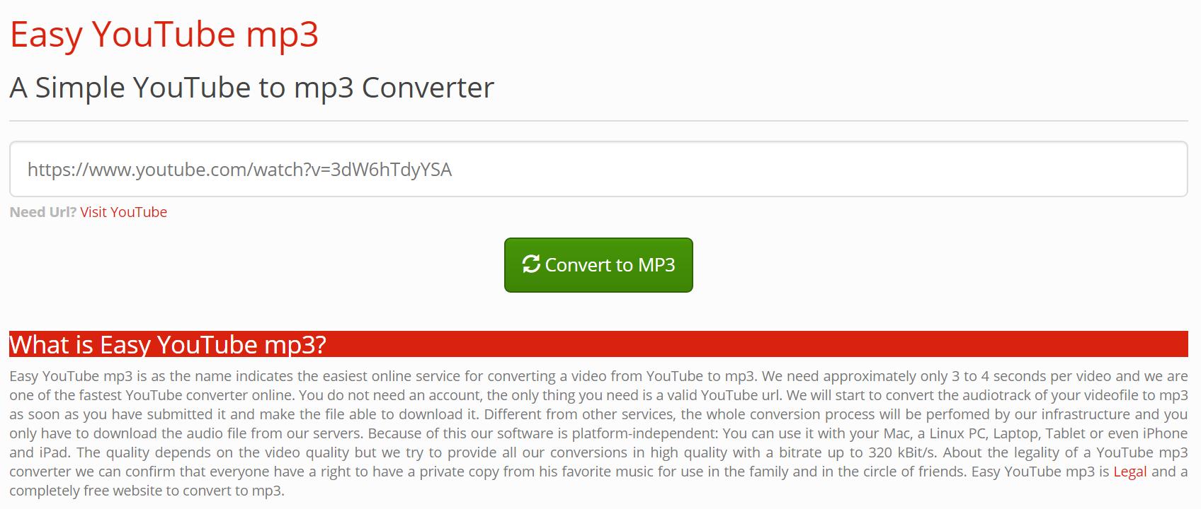 Easy YouTube mp3のメイン画面