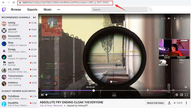 Copy Twitch Video Link