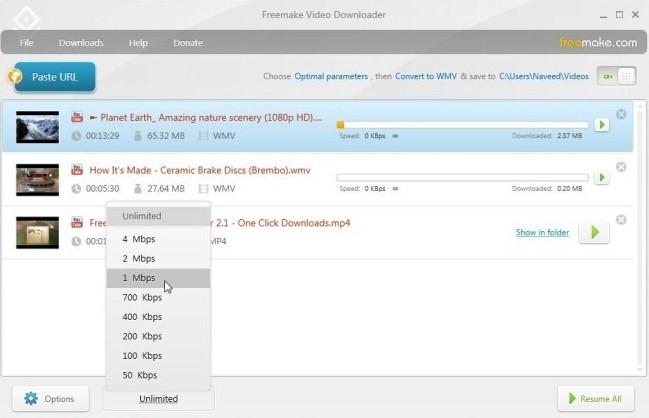 Freemake Video Downloader Limits Speed