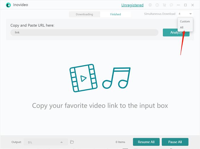 Inovideo Simultaneous Download Setting